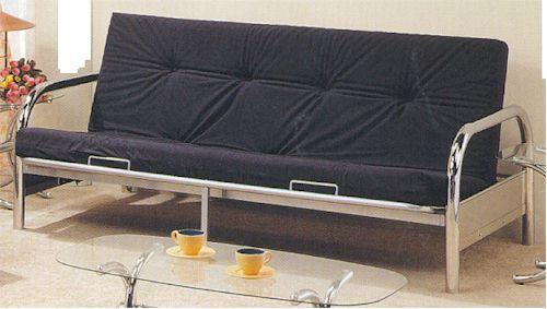f101 chrome finish futon sofa bed w 1 extra center leg support 79  w x 39  d x 34  h   6   futon mattress in blk or red  169     futons and mattress starting at  169 00  rh   futons169 00 tripod